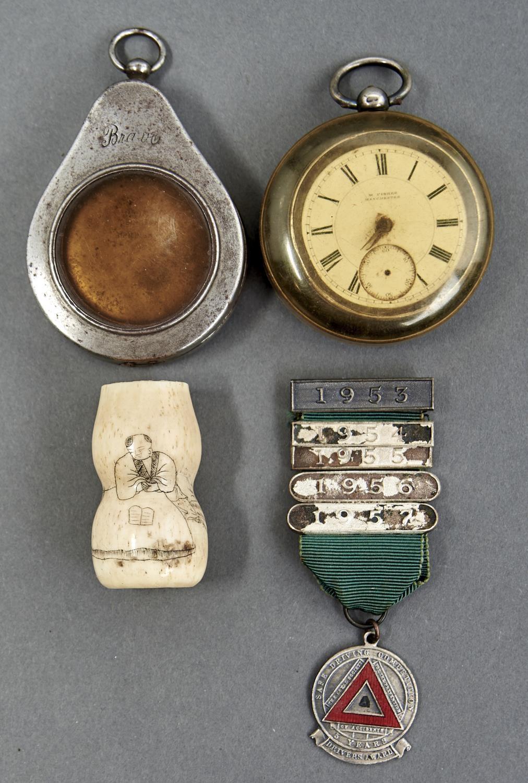 A VICTORIAN SILVER LEVER WATCH, A STEEL WATCH CASE, ETC Watch damaged