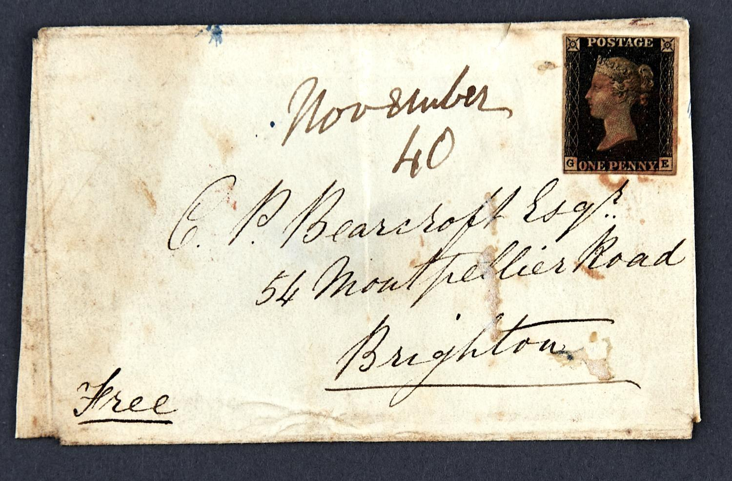 GREAT BRITAIN1840 1d black plate 6 GE used on envelope (faults) from Leominster to Brighton dated