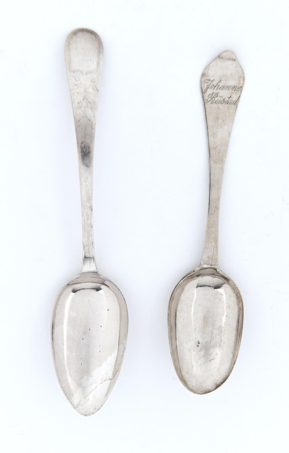 A DANISH SILVER SPOON, DOG NOSE PATTERN, THE BOWL ENGRAVED WITH A LEAF, INSCRIBED JOHAN BUSTAD, 18.