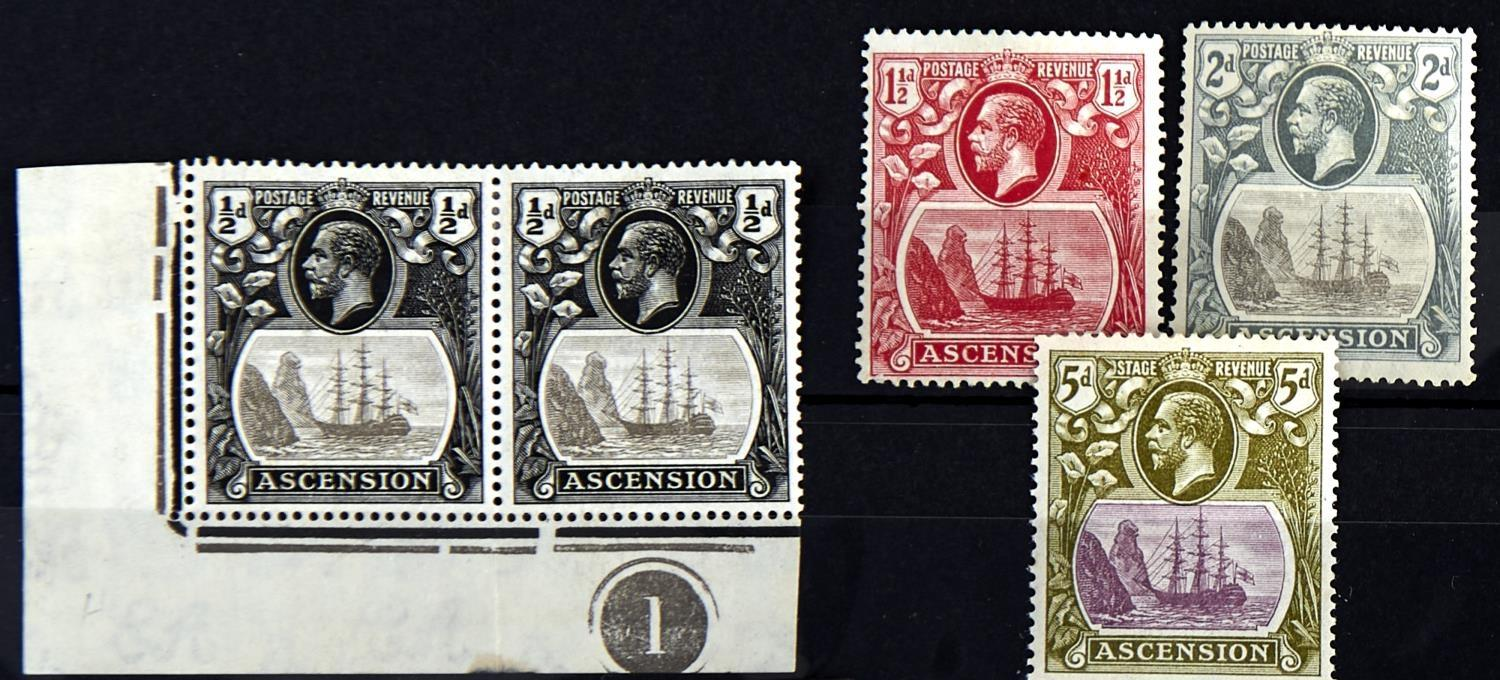 "ASCENSION 1924-33 1/2d plate ""1"" corner pair, 11/2d, 2d & 5d, all clearly showing ""cleft in rock"""