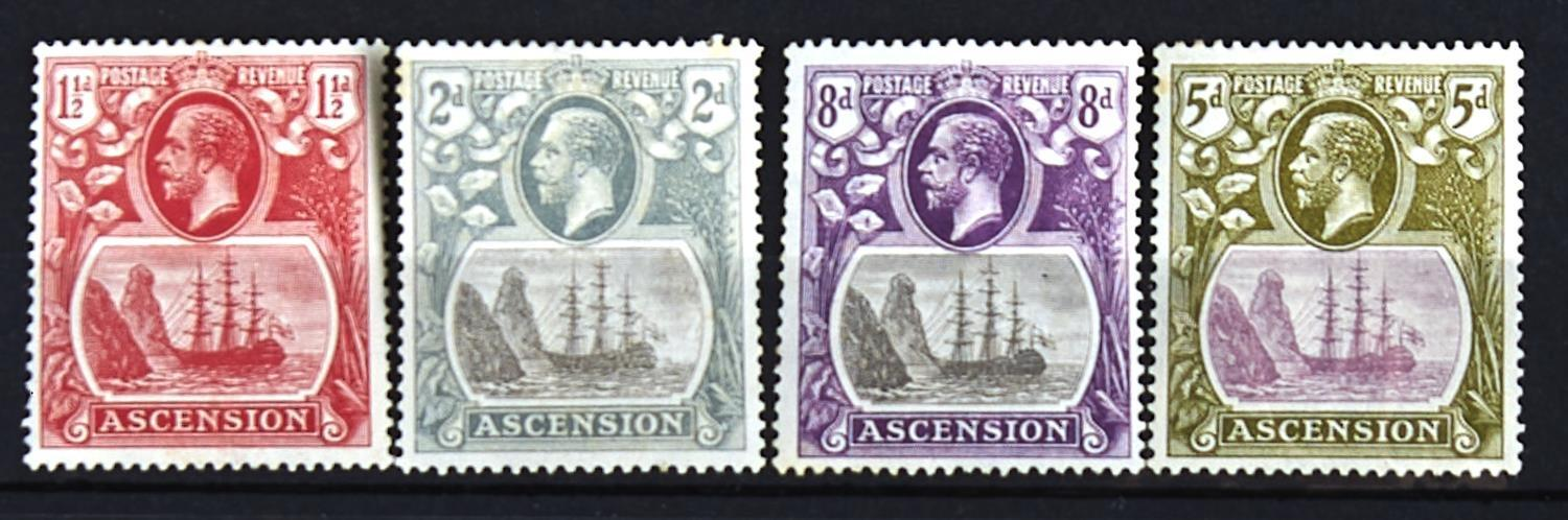 """ASCENSION 1924-33 11/2d, 2d & 8d all with """"torn flag"""" variety. Also 5d with uncatalogued """"damage"""