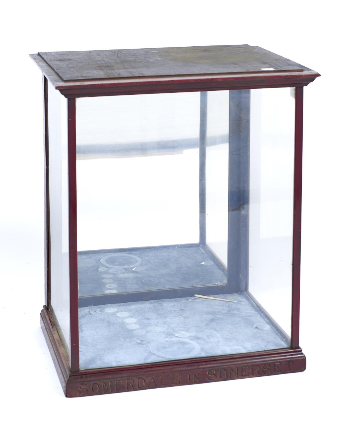 SOMERDALE IN SOMERSET - A TABLE TOP MAHOGANY DISPLAY CABINET WITH FLARED CORNICE, GLAZED FRONT AND