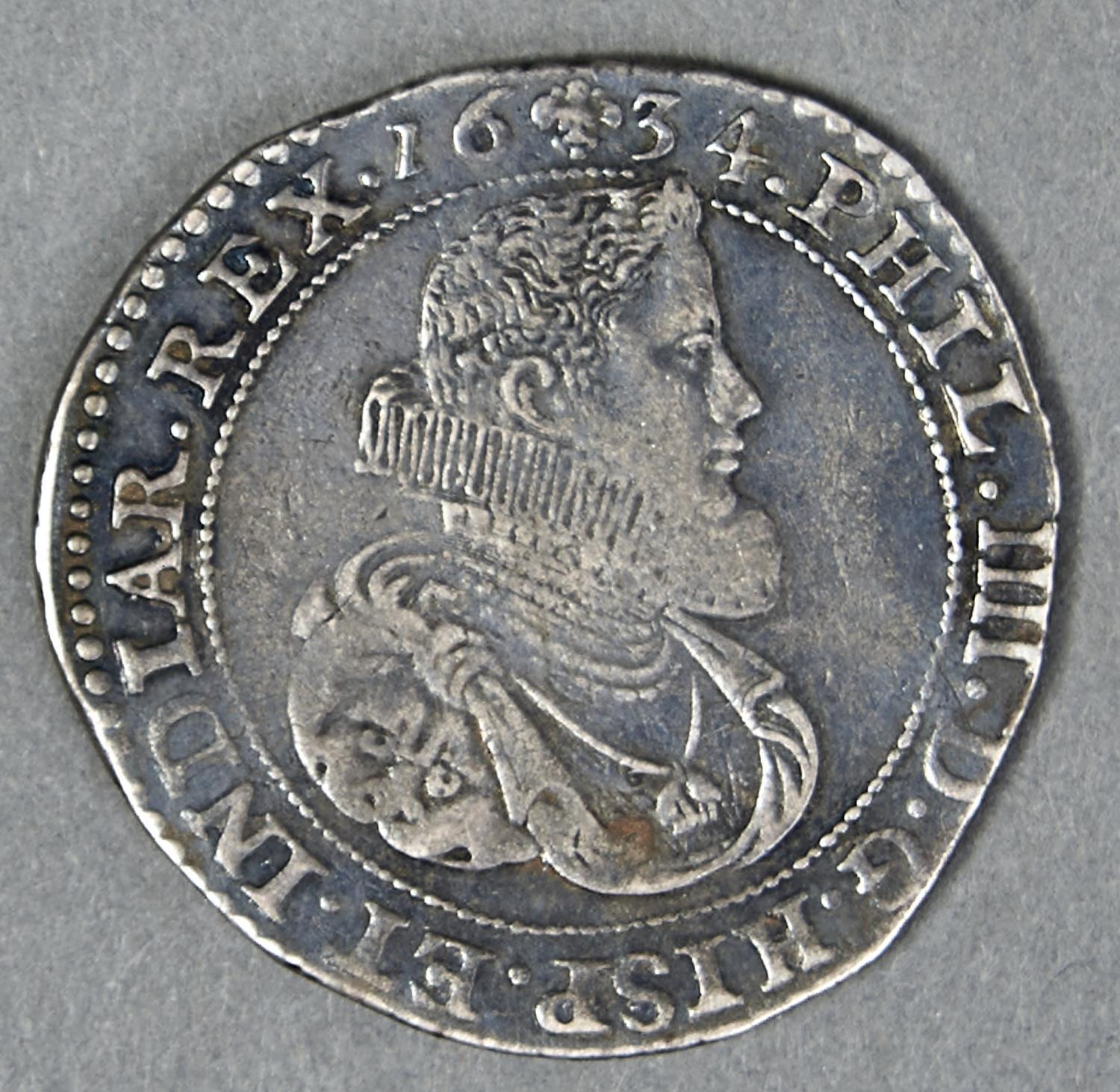 SPANISH NETHERLANDS, BRABANT, PHILIP IV, DUCATON, 1634, POSSIBLY A WRECK FIND, FINE+, WITH A BOLD