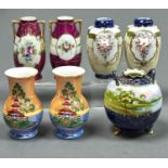 ONE AND THREE PAIRS OF NORITAKE VASES, EARLY 20TH C, ONE WITH IRIDESCENT GLAZE, THE GLOBULAR VASE
