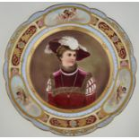 A VIENNA STYLE CABINET PLATE, C1900, PAINTED WITH A BUST LENGTH PORTRAIT OF A REGAL LADY IN FUR