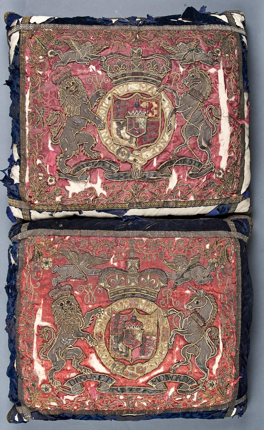 TWO WILLIAM IV TRUMPET BANNERS, 1816-37, OF CRIMSON DAMASK EMBROIDERED IN SILK AND METAL THREAD,