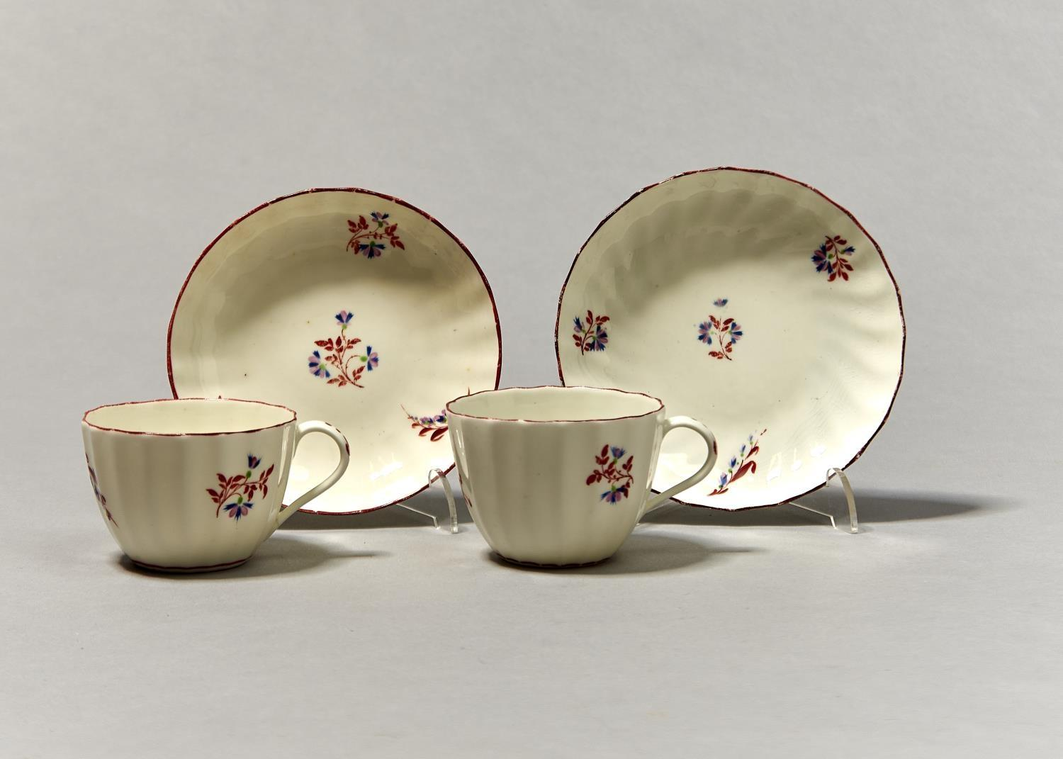 TWO PINXTON FLUTED TEACUPS AND SAUCERS, PATTERN 1 (RED SPRIG), C1800, SAUCER 14CM DIAM Localised