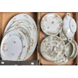 A LIMOGES PART DINNER SERVICE, COMPRISING TWO LARGE OVAL MEAT PLATES, 51CM W, THREE OVAL PLATES,