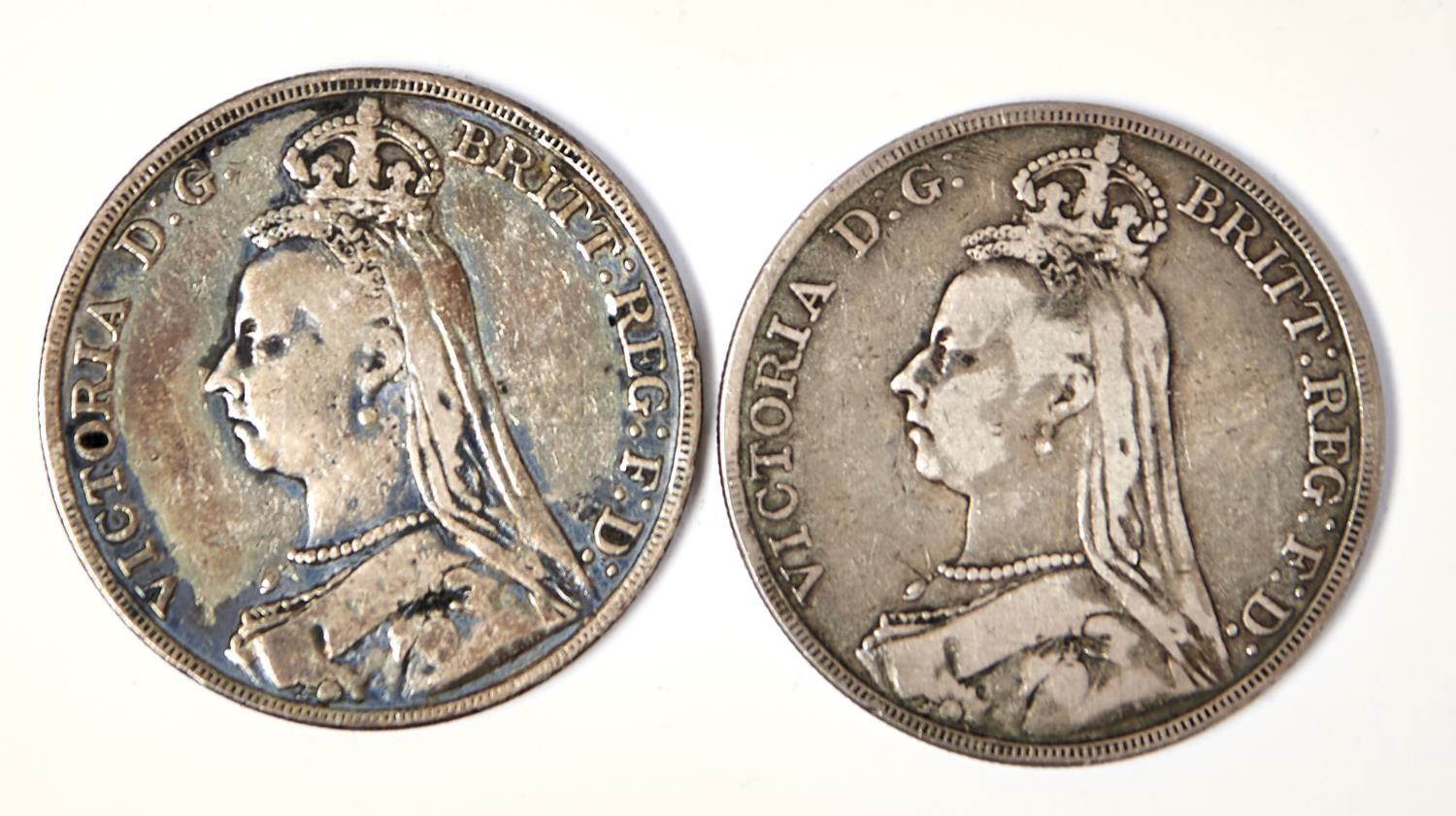 SILVER COINS.  CROWNS 1889 AND 1890