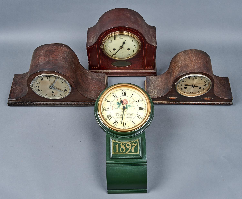 THREE MANTEL CLOCKS, TWO OAK VENEERED, ONE MAHOGANY AND AMBOYNA VENEERED WITH GEOMETRIC AND LINE