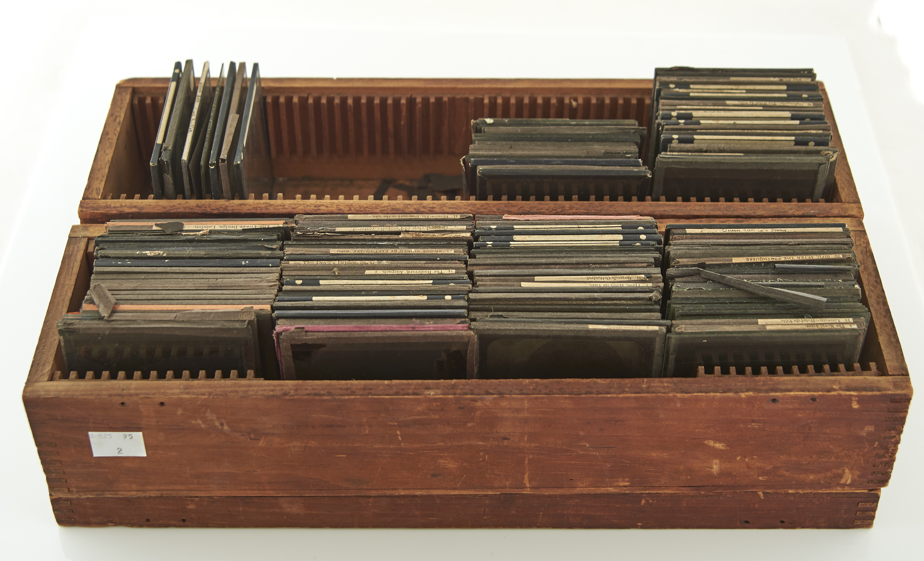 """TWO DEAL BOXES OF 3¼ X 3¼"""" MAGIC LANTERN SLIDES, LATE 19TH / EARLY 20TH C, VARIOUS SUBJECTS, TO"""