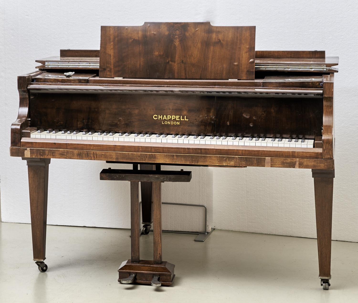 """A 4' 6"""" CHAPPELL GRAND PIANO, IN WALNUT CASE Veneers faulty"""