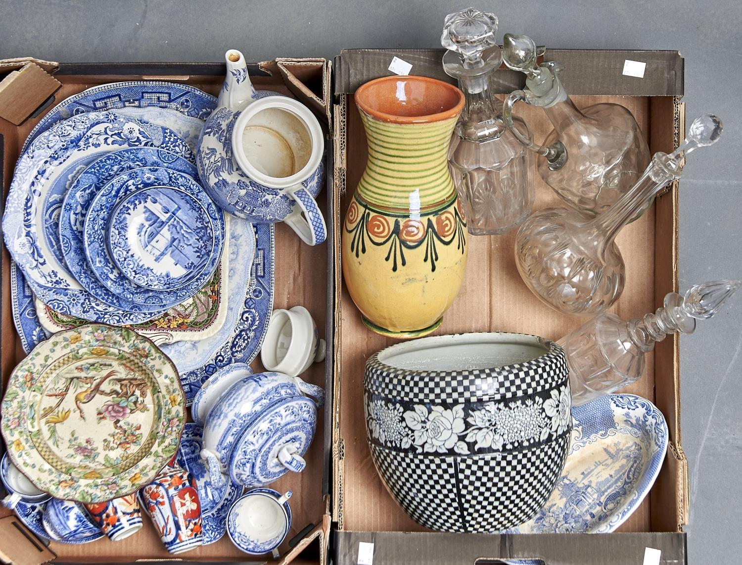 MISCELLANEOUS CERAMICS AND GLASSWARE, TO INCLUDE THREE VICTORIAN / EDWARD CUT GLASS DECANTERS AND