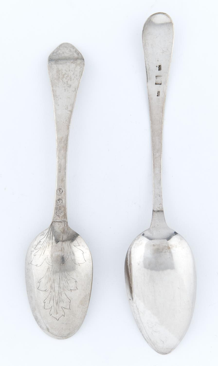 A DANISH SILVER SPOON, DOG NOSE PATTERN, THE BOWL ENGRAVED WITH A LEAF, INSCRIBED JOHAN BUSTAD, 18. - Image 2 of 2