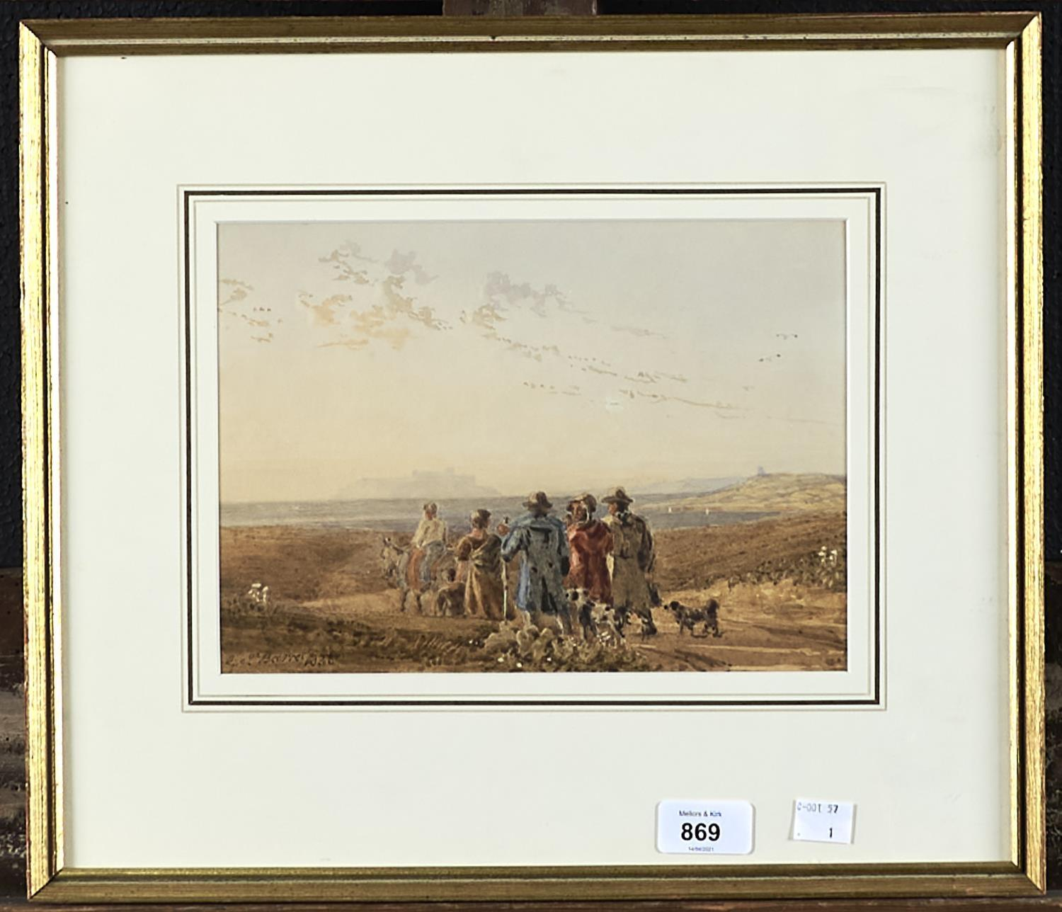 GEORGE BARRET THE YOUNGER (1767-1842) RUSTICS AND THEIR ANIMALS APPROACHING THE COAST, BAMBURGH - Image 2 of 2