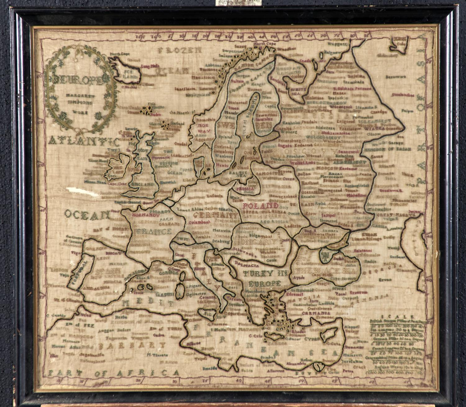 TWO ENGLISH LINEN MAP SAMPLERS OF ENDLAND AND WALES AND EUROPE, NELLIE SIMPSON'S WORK AND MARGARET - Image 3 of 4