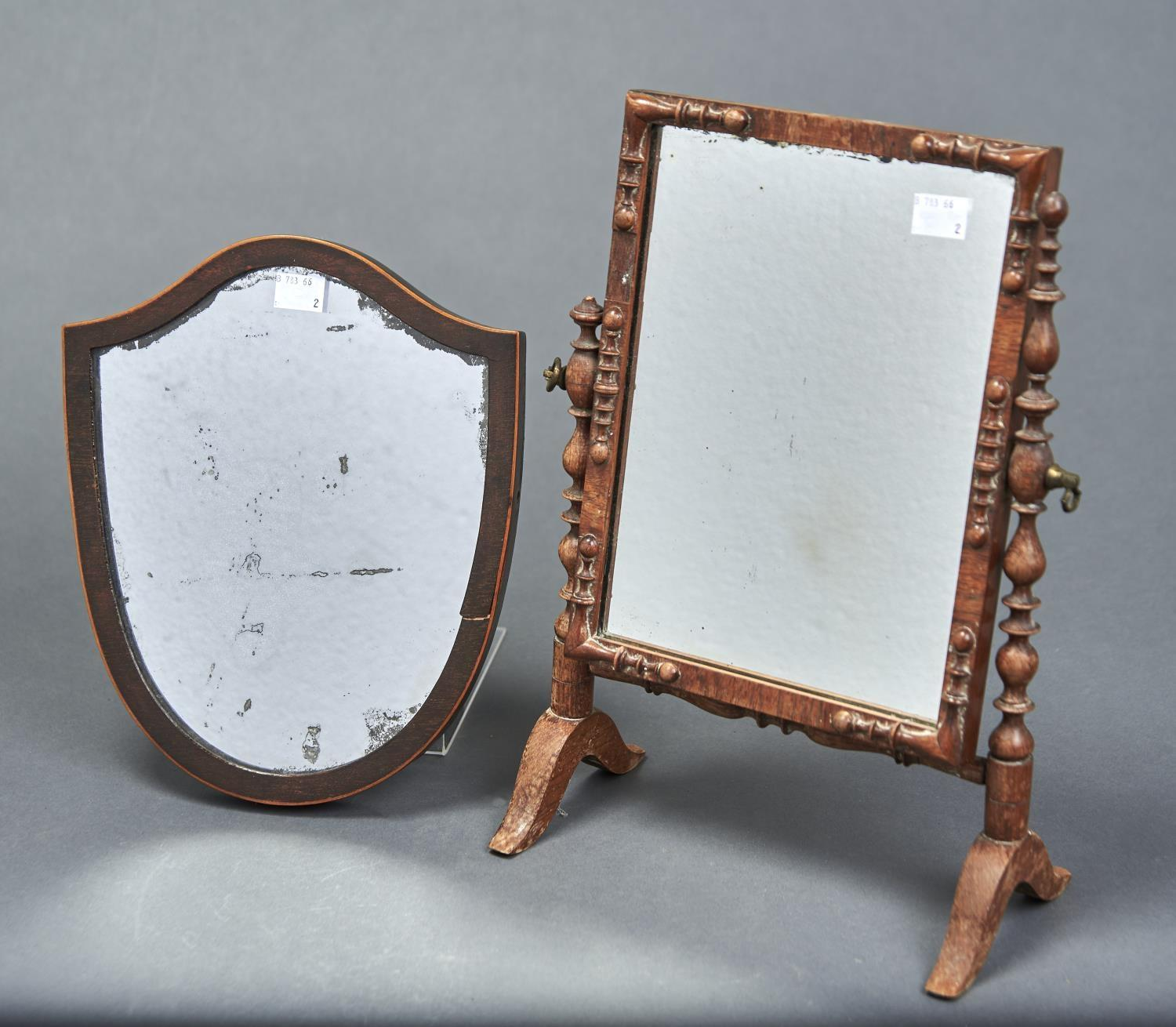 AN UNUSUALLY SMALL VICTORIAN MAHOGANY DRESSING TABLE MIRROR, THE RECTANGULAR PLATE APPLIED SPLIT