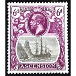 "ASCENSION 1924-33 6d grey-black & bright purple with ""torn flag"" variety. Fine mint. A scarce"
