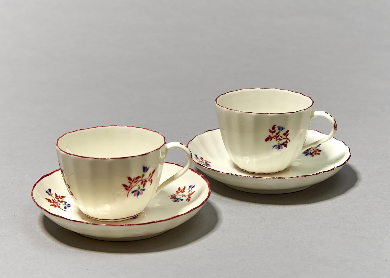 TWO PINXTON FLUTED TEACUPS AND SAUCERS, PATTERN 1 (RED SPRIG), C1800, SAUCER 14CM DIAM Localised - Image 2 of 3