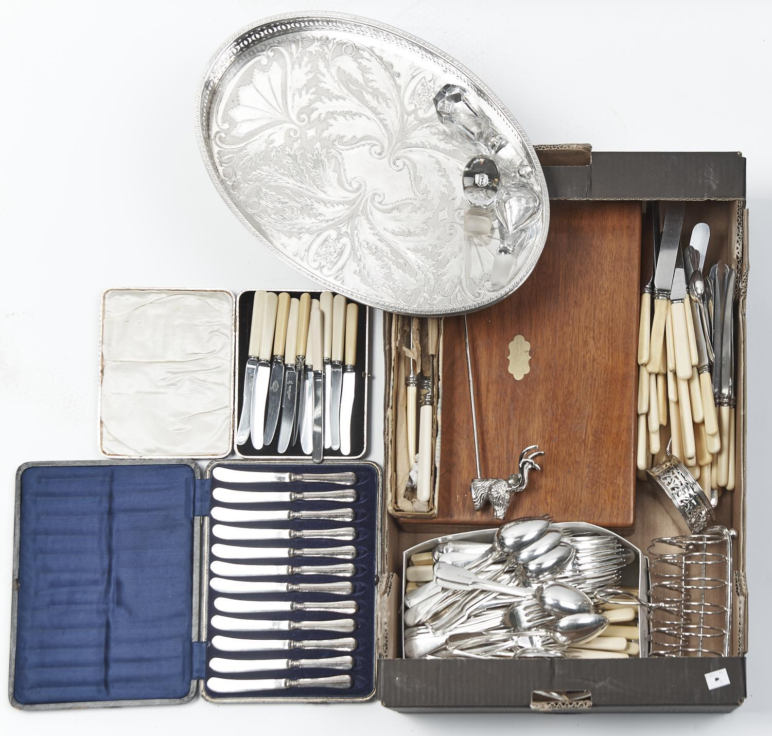 MISCELLANEOUS PLATED WARE, TO INCLUDE A CASE SET OF TWELVE SILVER HAFTED TEA KNIVES, BONE HANDLED
