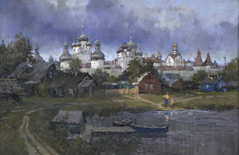 SERGEI OUSIK, 20TH / 21ST C - ROSTOV MONASTERY - SUMMER EVENING, SIGNED, PASTEL, 31 X 47CM Good