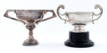 An Edward VIII silver trophy cup with flying scroll handles, 90mm h, by Walker & Hall Limited,