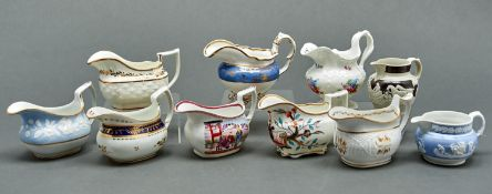 A study collection of nine English porcelain cream jugs, early 19th c, various moulded oblong and