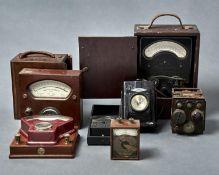 A mahogany cased single-pivot galvanometer, Robert W Fall London, early 20th c, 17 x 17.5cm and