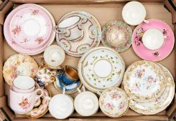 A collection of mainly Victorian bone china teaware, c1870-early 20th c, including Royal