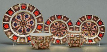 A Royal Crown Derby sugar bowl and jug,pattern 2451, of fluted panel form, jug 9cm h, sugar bowl