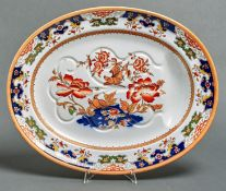 A Minton Japan pattern earthenware meat dish, late 19th c, 54cm l, impressed and printed marks,