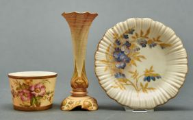 A Royal Worcester vase, barrel shaped sugar bowl and Old Ivory shell bordered dish, late 19th and