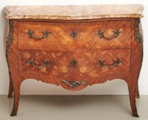 A French kingwood and marquetry commode, early 20th c, in Louis XV style, with sienna brocatelle