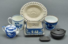 A Wedgwood dark blue jasper dip sardine dish and EPNS cover and stand, a Wedgwood silver mounted