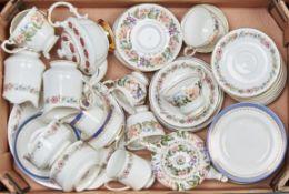 A Paragon Country Lane pattern part tea service, comprising five cups, six saucers, sugar bowl