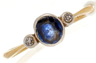A diamond and sapphire ring, in gold marked 18, 1.8g, Size N