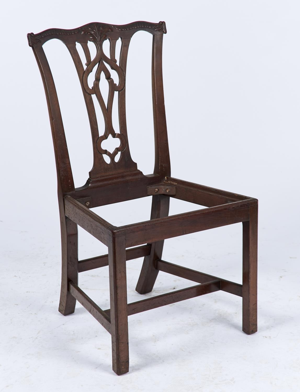 A set of six mahogany dining chairs, c1880, in George II style, foliate carved serpentine cresting - Image 2 of 2