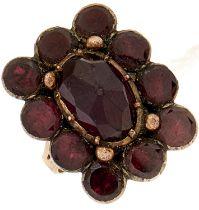 A Georgian garnet ring,adapted from a brooch, gold hoop, 7.4g, size M