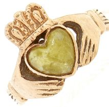 A 9ct gold Connemara marble ring, 3.7g, size K½