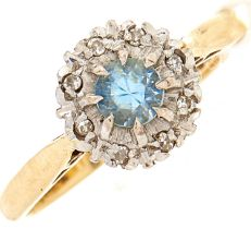A zircon diamond cluster ring, in 18ct gold, 3.4g, size O