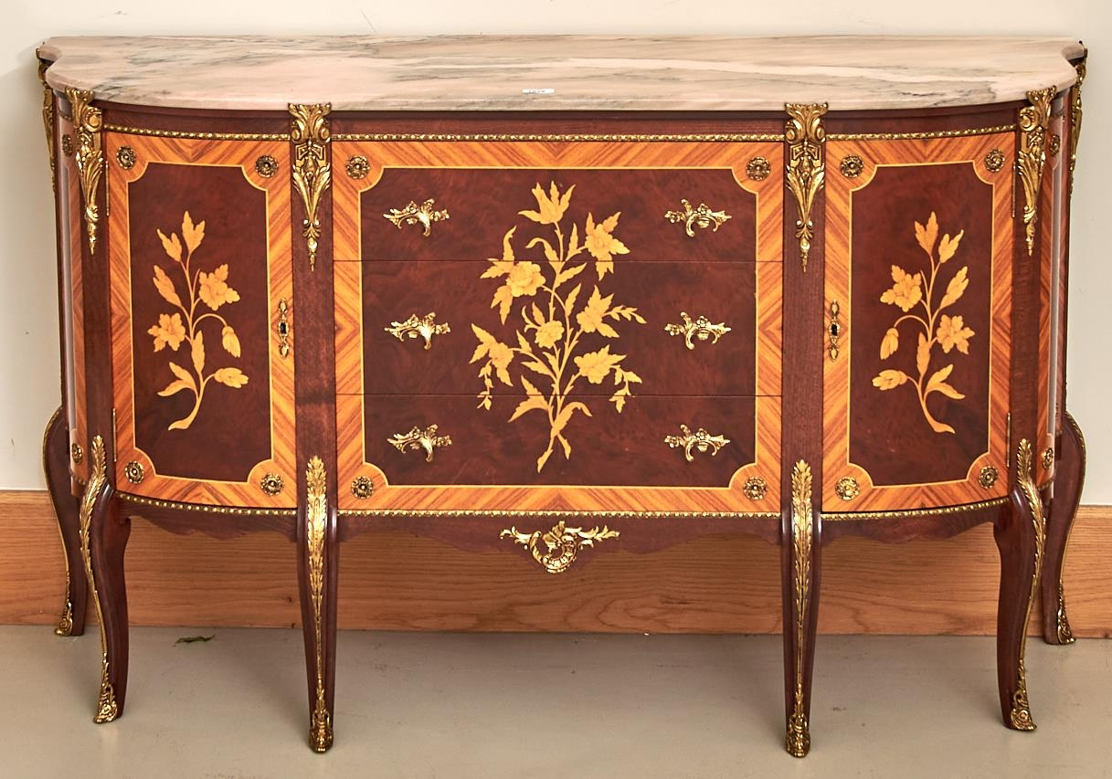 A marquetry commode, 20th c, in Louis XVI style, with marble slab and giltmetal mounts, 84cm h; 42 x