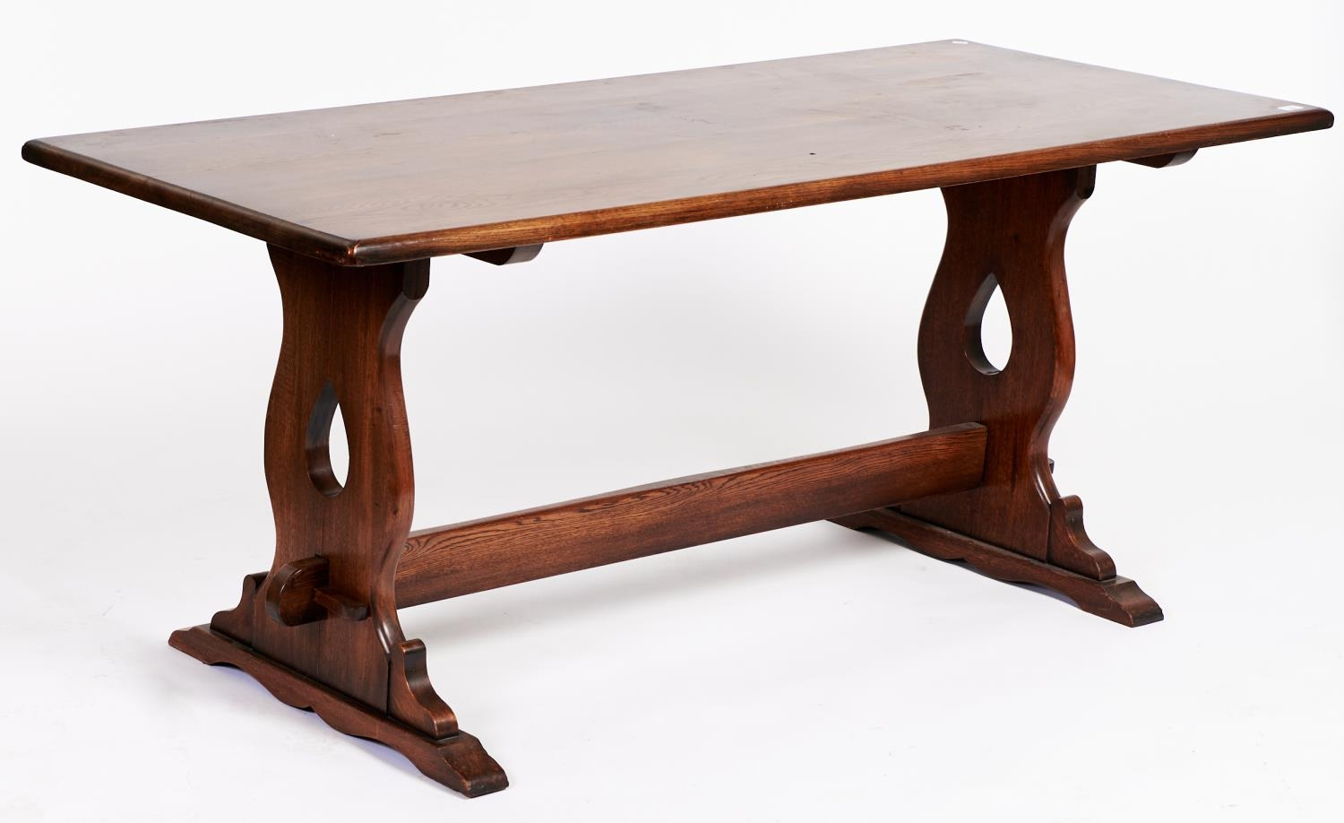 An antique style oak refectory table, 76cm h; 182 x 74cm Numerous scuffs and scratches to corners
