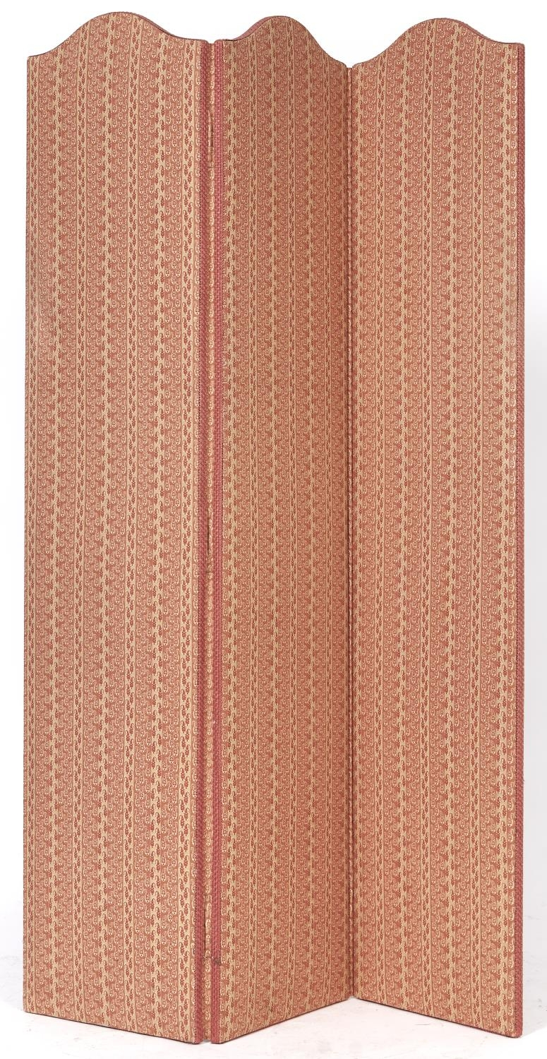 A three panel screen, padded and covered in boteh pattern Claremont cotton, 169cm h, 115cm l Good