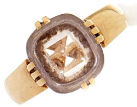 A rock crystal ring, in gold, 3.1g, size J