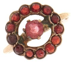 A garnet and paste ring, in gold marked 10k, 2.2g, size O