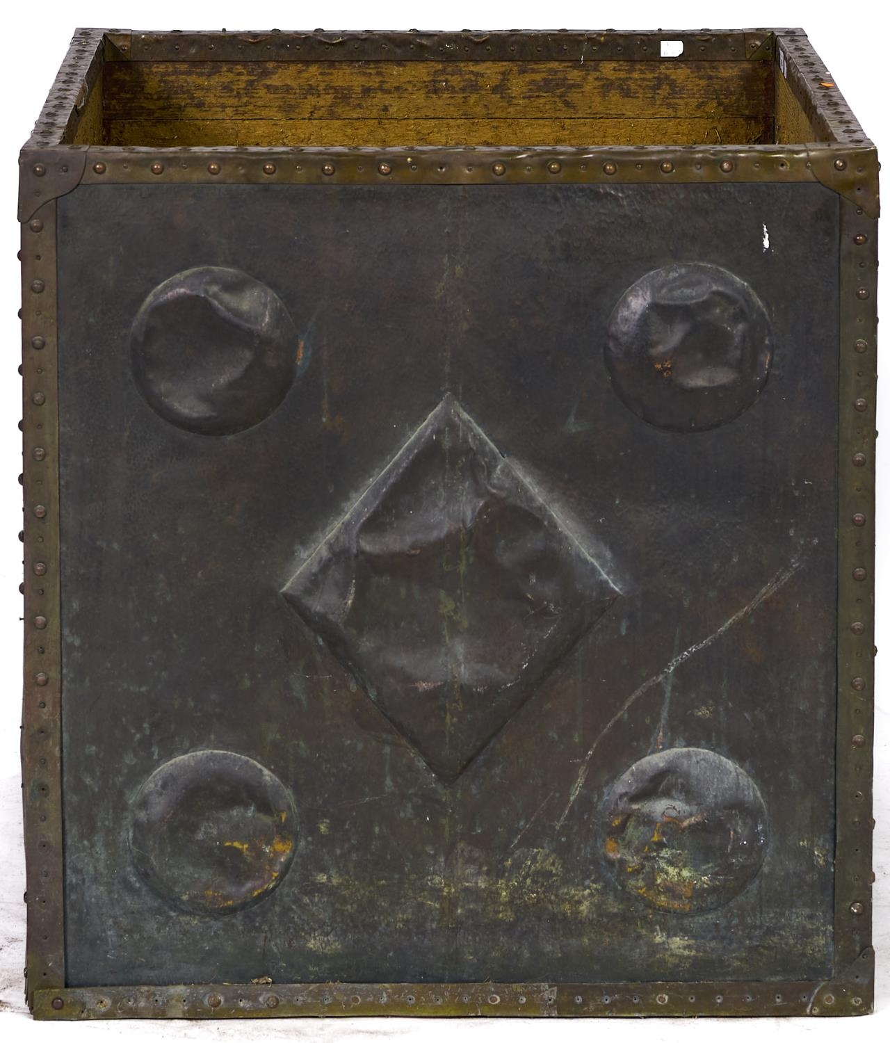 A brass and copper cased pine log bin, early 20th c, square planked form, two panels of copper,