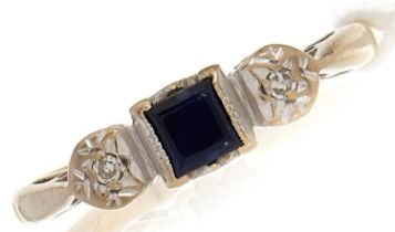 An 18ct gold sapphire and diamond ring, 2.9g, size L