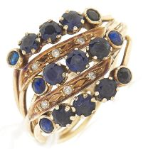 A sapphire and diamond quintuple ring, in gold marked 585, 7.2g, size Q