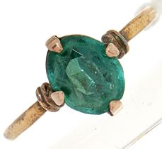 A 9ct gold green paste topped doublet
