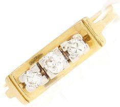 An 18ct gold three stone diamond ring, 4.1g, size M½